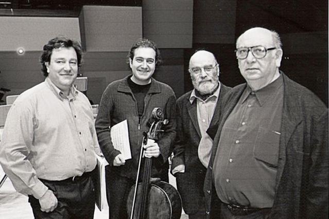 Asier con el Maestro Encinar y los compositores De Pablo, Bernaola